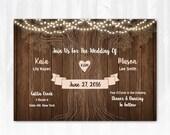 Rustic Tree Wedding Invitation with String Lights DIY PRINTABLE Digital File or Print (extra) Country Wedding Invitation Wood Wedding Invite