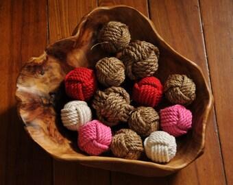 13 Monkey Fist Knots - Nautical Decor - Rope Knots - Manila and Cotton Rope Knots -
