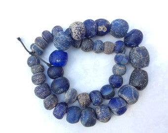Antique European Old Dogon Cobalt Blue mixed Glass trade beads