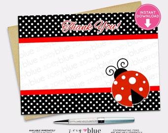 Ladybug Thank You Card Printable Red Black Striped Polka Dots Lady Bug - Digital File INSTANT DOWNLOAD