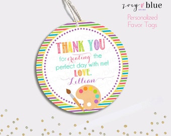 Art Party Favor Tag - Painting Birthday Thank You Tags - Rainbow Round Party Favors - Baby Shower Gift Tags - Personalized Digital File