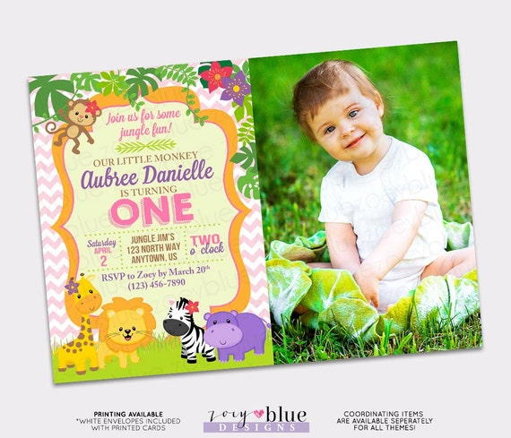 Jungle birthday invitation girl first birthday one pink monkey il570xn filmwisefo Image collections