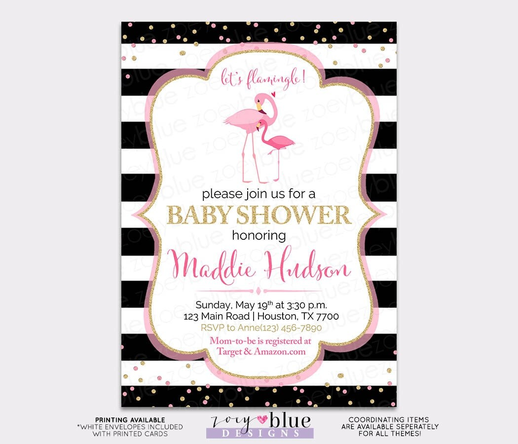 flamingo baby shower invitation boy or girl tropical baby