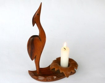 Oiseau en bois bougie titulaire, ornement oiseau, bougie en bois bâton, héron en bois, chandelle titulaire, grue en bois, Sculpture d'oiseaux