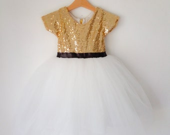 Flower girl Gold and White tutu dress, gold sequined and black ribbon dress, birthday dress, girl christmas dress