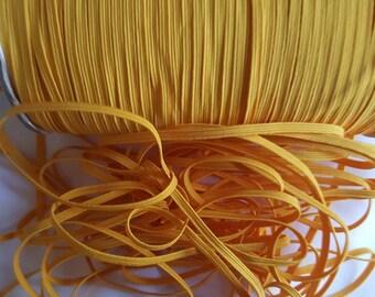 "1/8"" skinny elastic, YELLOW GOLD skinny elastic,solid elastic,foe elastic,elastic by the yard ,skinny headband supply, headband elastic"