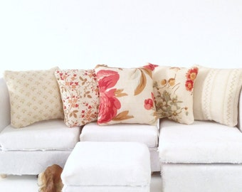 Country Dollhouse Pillows, 5 Piece Red and Tan Pillow Set 1:12 Pillow Set, Rustic Fashion Doll Pillow, Fashion Doll Miniature Pillows