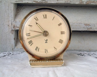 Vintage French mid century JAZ mechanical alarm clock in IVORY color. French cottage. Farmhouse. shabby chic