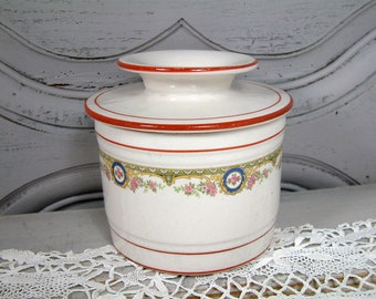 Antique french butter storage crock. French butter crock. French cheese bell. Thick porcelain french butter dish. Antique French beurrier.