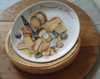 Vintage French large 1Cheese Serving plate  in a basket & 1 French cheese knife..French Dining..L'hirondelle..dessert plates..Christmas gift