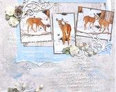 Deer in the Winter -   scrapbook page  wall hanging