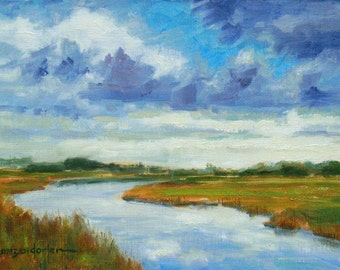 Landscape oil painting,  6 x 9, impressionist, abstract, sky, water, river, clouds, reflections, blue skys,  original art by DJ Lanzendorfer