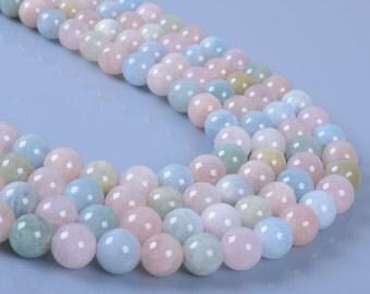 """8MM15 8mm Morganite Beryl Aquamarine round ball loose gemstone beads 16"""""""