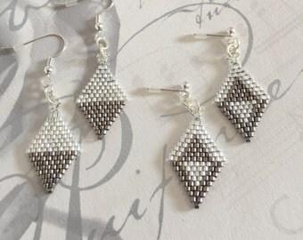 Silver Bead Earrings, Diamond Shaped Earrings, Delicate Drop Earings, Silver and Steel Jewelry, Seed Beads, Girlfriend Gift, Gift for Her