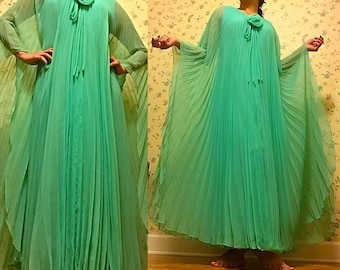 Gorgeous Seafoam Green Blue Chiffon Accordion Pleat Maxi Gown by Miss Elliette