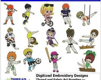 Embroidery Design CD - Kid Athletes(1) - 14 Designs - 9 Formats - Threadart