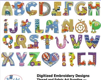 Embroidery Design Cd - Transportation Letters - 11 Designs - 8 Popular Formats
