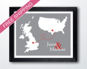 Custom Two Country Map with Love Trails Print- Personalized Long Distance Relationship Gift, Engagement Gift, Wedding Gift, Anniversary Gift