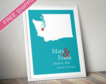 Custom Wedding Gift : Personalized Wedding Location and State Map Print - Washington - Engagement Gift, Wedding Guest Book