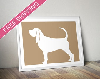 Bloodhound Print - Bloodhound Silhouette, mod dog home decor, dog print, dog gift