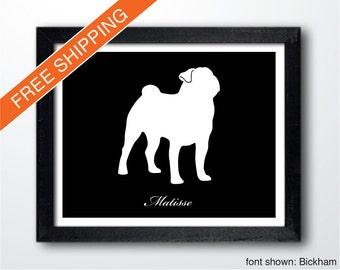Personalized Pug Silhouette Print with Custom Name (Version 1) - pug art, pug portrait, modern dog home decor