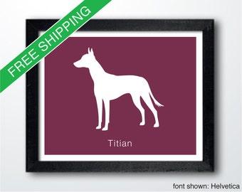 Personalized Xoloitzcuintli Silhouette Print with Custom Name - Mexican Hairless Dog Art, Dog Portrait, Modern Dog Home Decor