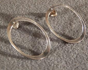 Vintage Sterling Silver Oval Hoop Earrings with Post Back Jewelry **RL