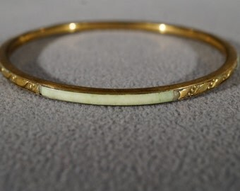 Vintage Art Deco Style Brass Genuine Agate Bangle Bracelet Etched Stackable Jewelry    K#20