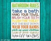 Bathroom Rules. Boys Bathroom Decor. Boys Bathroom Wall Art. Flush, Brush, Wash, Hang. Little Boys Bath Room Art. Brothers Bathroom Decor.