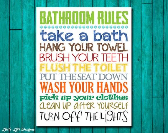 Bathroom Rules Boys Bathroom Decor Boys Bathroom Wall Art