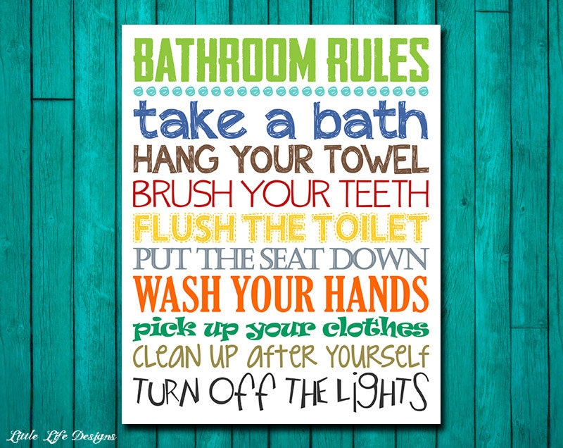 Bathroom Rules bathroom rules. boys bathroom decor. boys bathroom wall art.