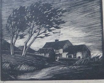 Wuthering Heights Signed Woodengraving By John Frederick Greenwood 1885-1954