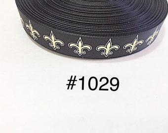 """3 or 5 yard 7/8"""" Gold Fleur De Lis on Black Grosgrain Ribbon Hair Accessories"""