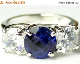 Summer Sale, 30% Off, SR255, 2 ct Created Blue Sapphire & 1 ct CZs, 925 Sterling Silver Ring