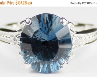 Fall is coming, 30% off, SR136, 4.5 cts Quantum Cut London Blue Topaz, 925 Sterling Silver Ring
