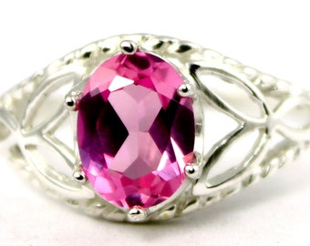 Created Pink Sapphire, 925 Sterling Silver Ring. SR137