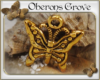 10 butterfly charms gold 15x17mm
