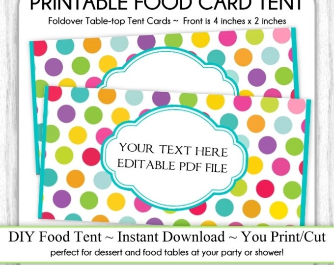 Circus Polka Dot Table-top Tent Cards, Carnival Birthday Party, Circus Food Tents, foldover, You Print, DIY, Instant Download, EDITABLE