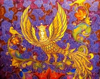 "Hand painted Silk scarf. Womens Silk Scarf, Wings scarf, Bohemian Shawl ""Sirin"" Batik silk scarf hand painted. Scarf boho, Girlfriend Gift."
