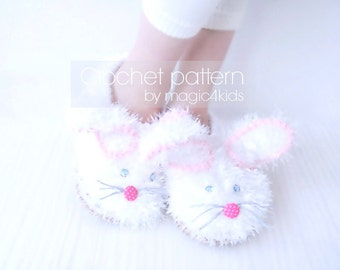 CROCHET PATTERN fluffy bunny slippers for kids,crochet shoes with rope soles,for kids 1 yo- 10 yo,cord soles pattern included,loafers,easter