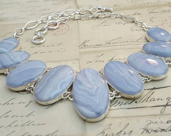 Sterling Silver Necklace - BLUE Lace AGATE, Birthstone, Gemini, Pisces, Jewelry, Womens, Metaphysical, Spiritual, Healing, Birthday, Gift