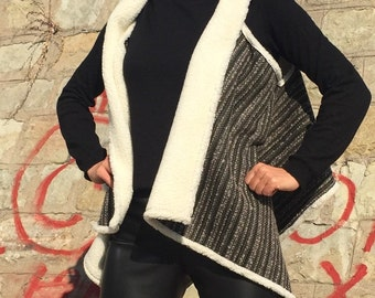 Plus Size Vest/Maxi Asymmetrical Vest/Oversize Vest/Warm Vest/Trendy Vest