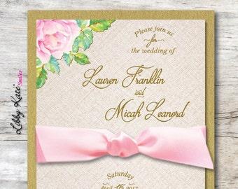 Wedding Invitation Pink and Gold Floral Wedding Invitation Elegant