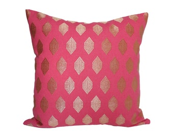 Pink and Gold Medallion designer pillow cover - Made to Order - Choose Your Size