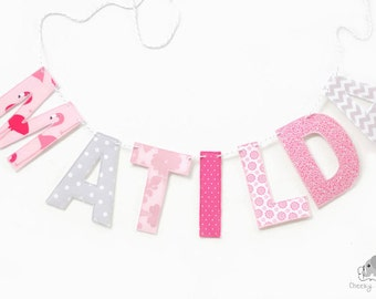 Name banner pink flamingoes, pink name wall hanging, girl's nursery décor flamingo, wall hanging name, custom name banner, fabric letters