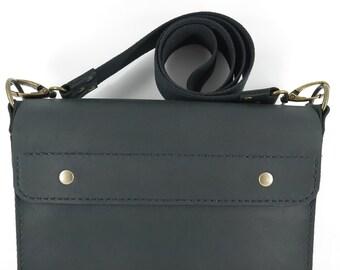 Handmade black leather messenger bag