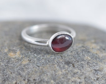 Handmade Oval Garnet and Silver Ring, Sterling Silver and Garnet Ring, Red Ring, January Birthstone Garnet Ring Made to Order, Birthday Gift