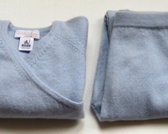 Blue vintage pure cashmere baby wrap cardigan and trousers set:  18 - 24 months