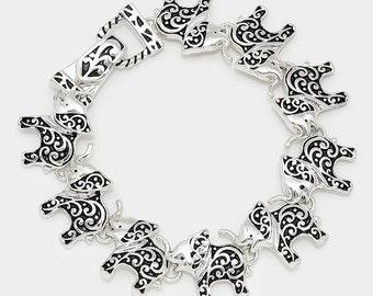 Elephant Bracelet, Elephant Charm Bracelet, Magnetic Elephant Bracelet