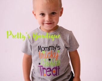 Halloween Shirt Boys -- Mommy's Tricky little treat in Sizes 3M to 14 Years